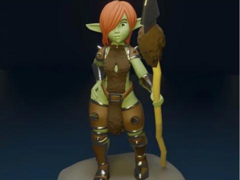 Cute Goblin Girl With Spear