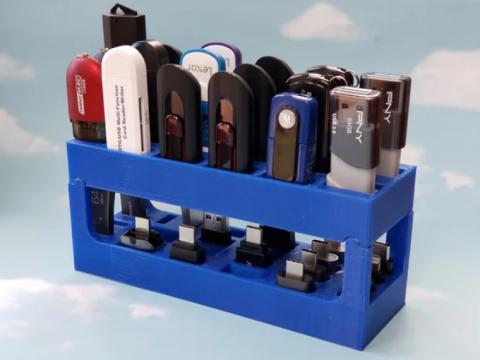 Double-Decker USB Flash Drive & Adapter Rack