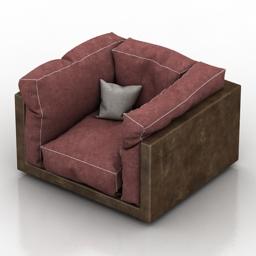 Armchair brown 3d model