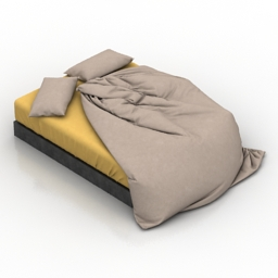 Bed Black & Yellow 3d model