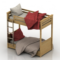 Bed Oxford Bunkbed Childroom 3d model