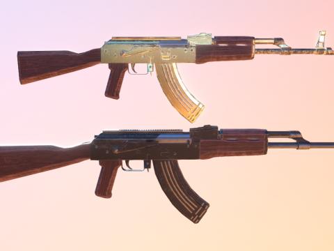 AK-47 classic and gold skin