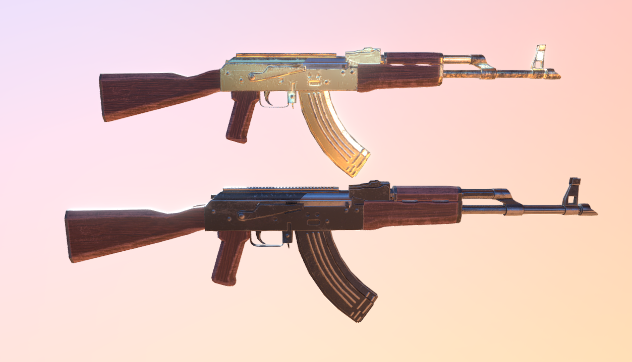 AK-47 classic and gold skin