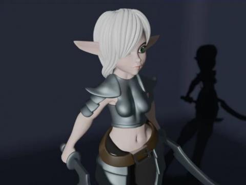 Fighter Female Elf or Goblin Girl