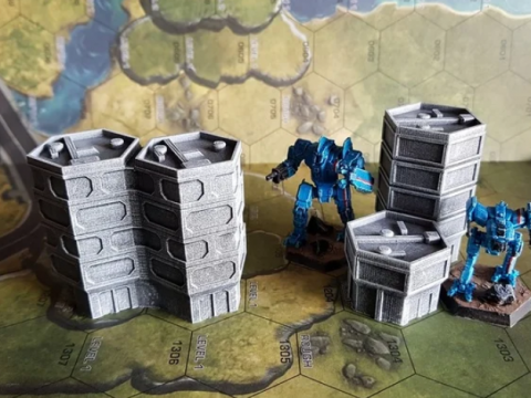 Hexagonal Offices for 6mm / 1:285 scale gaming sample