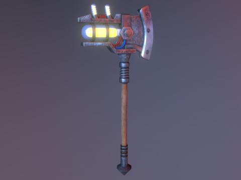Lowpoly Steampunk Axe