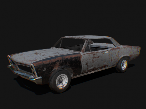Old rusted muscle car - Low poly model