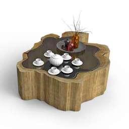 Outside wood Table 3d model