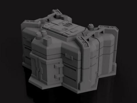 Desert Airbase Hangar/Warehouse - 6mm hex based sci fi terrain - American Mecha