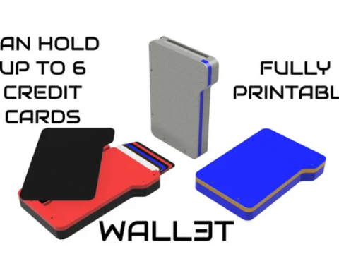 Wall3t - Fully 3D Printable Wallet (Holds up to 6 credit cards)
