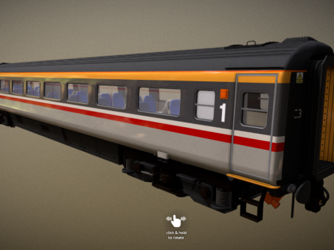 Mk 3 Carriage - BR Swallow Livery - Std 1st