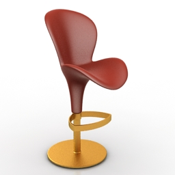 Chair bar Oslo Tonin Casa Rossa Red 3d model