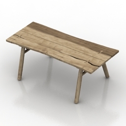 Table loft wood log 3d model