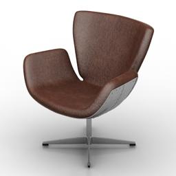 Armchair Kare Design SWIVEL CHAIR SOHO SOFT TIN 3d model