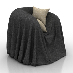 Armchair industrial style chair cover 3d model