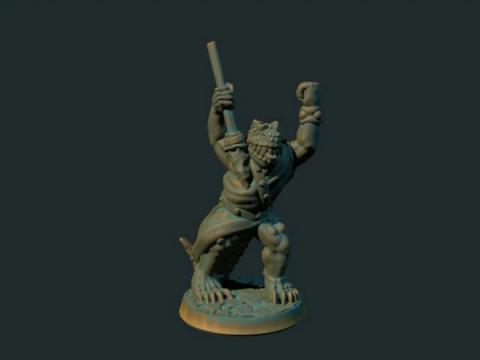 Lizardman with javelin (supportless, FDM friendly)
