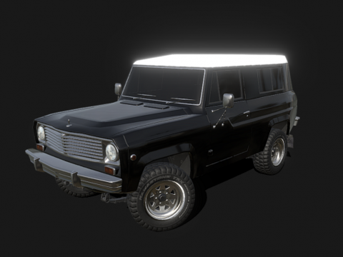 60s Classic American SUV - Low poly model