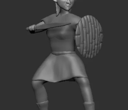 Goblin Female with sword and shield