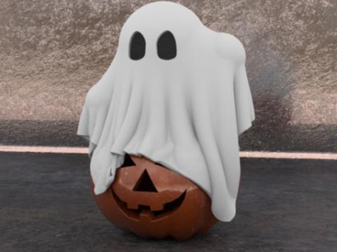 Ghost on Pumpkin Halloween