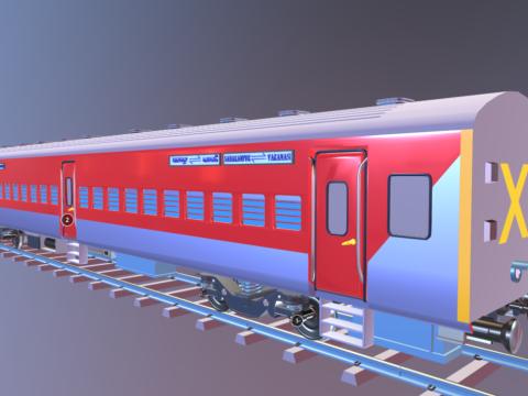 Train coach model | Midpoly | Blender